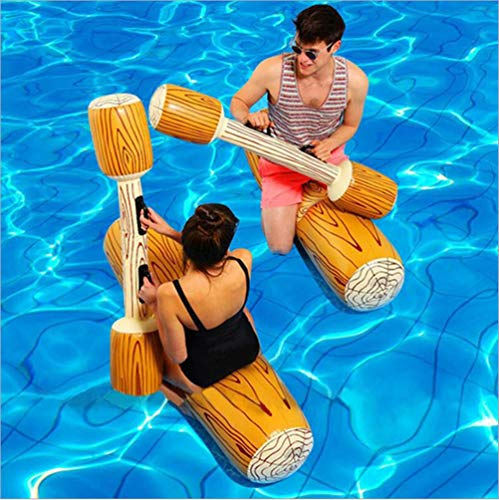 2 Pcs Set Inflatable Floating Water Toys Aerated Battle Logs, Floating Bed Pool Floats Ride Boat...