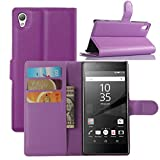 Premium Leather Wallet Case Cover with Stand Card Holder for Sony Xperia Z5 Premium 5.5 Inch Phone (Wallet - Purple)