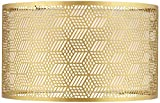Gold Finish Laser Cut Metal Large Drum Lamp Shade 17' Top x 17' Bottom x 10' High (Spider) Replacement - Springcrest
