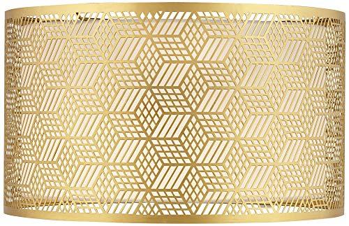 Gold Finish Laser Cut Metal Large Drum Lamp Shade 17