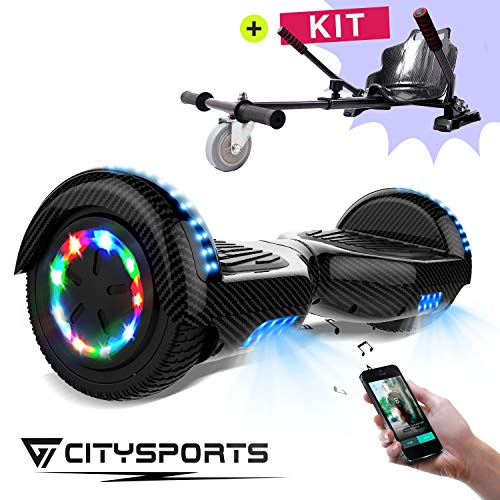 CITYSPORTS Balance Board 6,5 Zoll, Elektro Skateboard Smart Scooter 2x350W mit LED,E-Scooter + HOVERKART (Hover-16)