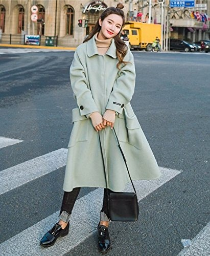 Xuanku dans Les Longs Cheveux Couleur Collier Poupée Manteau en Laine Fine Couche Lache Type Cocoon Tous-Match