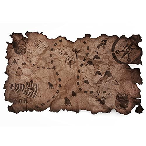 Mapa del Tesoro capitán de la Fiesta Pirata Bordes Rasgados Vintage Mapa náutico Antiguo para...