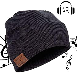Bluetooth Beanie Hat, Lukasa Wireless Bluetooth 5.0 Knitted Hat Music Braid Cap Winter Warm hats with stereo speakers for outdoor sports, skiing, running, skating