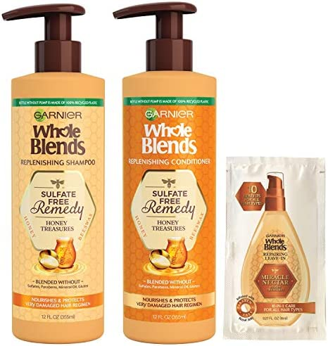 Garnier Haircare Whole Blends Sulfate Free Remedy Honey Treasures Replenishing Shampoo and Conditioner product image