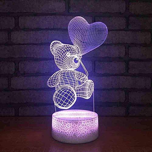 Indoor Slapen Nachtlampje 7 Kleur Visuele Led Cartoon 3D Beer Hartvormige Ballon Modellering Verlichting Bureau Lamp Kerstmis Geschenken Decor