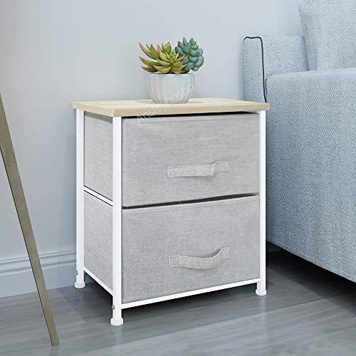 Boju - Cajonera de tela no tejida para dormitorio, sala de estar, armario de almacenamiento, cajón organizador para pasillo, color gris 2 Drawers: pack of 2