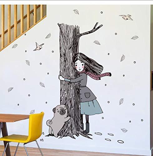 JHLP Meisje Hond Knuffel Boom Muursticker Home Decoratie Kids Kamer Achtergrond PVC Decals Cartoon Vinyl Mural Window Posters 60x90cm