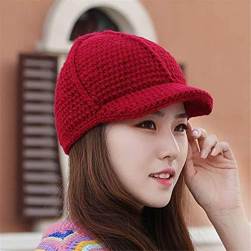 MZHAOANHE Bonnet d'automne Et d'hiver Tricoté pour Femme,Casquette Fashion,Bonnet Rouge (54-65cm)