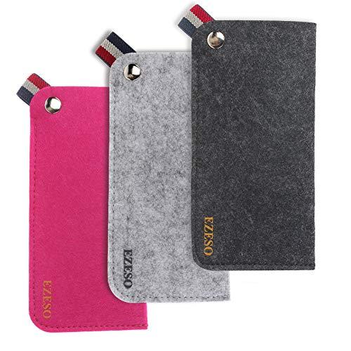 EZESO 3 Pack Filz Brillen Sonnenbrillen Aufbewahrungskoffer Portable Pouch Soft Slip In Brillenetui Tasche (Dunkelgrau + Grau + Rot)