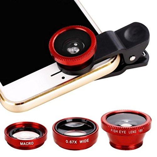 UKCOCO Lente de cámara Universal para teléfono Celular, 3 en 1 Lente de Gran Angular Lente Macro y Lente Ojo de pez Lente de teléfono móvil para iPhone Samsung Teléfonos Inteligentes