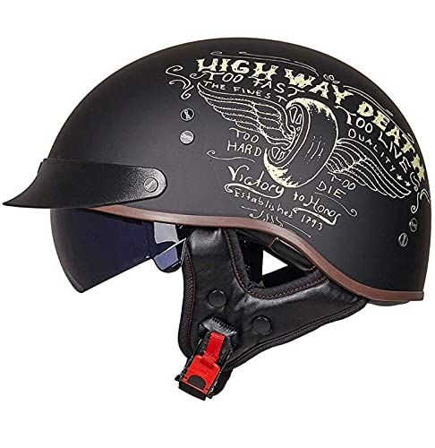 Casco Medio de Moto Vintage Motocicleta Cara Abierta Retro Mofa Bobber Scooter Cruiser Jet Respirable Touring Hard Hat Forro de Oreja Lente incorporada ECE Homologado 8,L