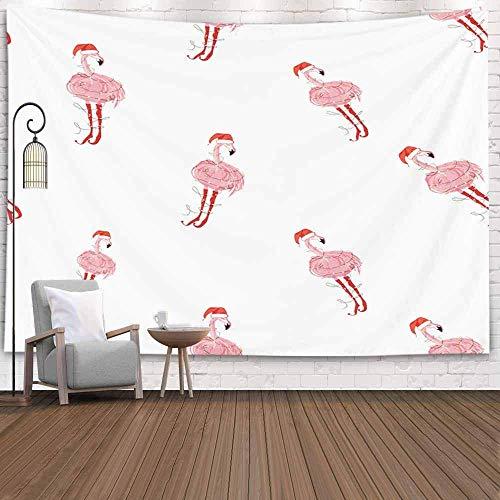 Tapiz decorativo para colgar en la pared, tapiz fresco de gran tamaño, flamenco, gorro de Papá Noel, patrón tropical de Navidad, accesorio de fondo para sala de estar, dormitorio, tapiz popular, tapiz