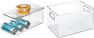 iDesign bac rangement frigo à couvercle, petite boîte conservation alimentaire & boîte de rangement à poignée, bac plastiq...