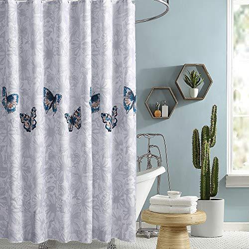 i@HOME Duschvorhang, Anti-Schimmel, Wasserabweisend, Waschbar Anti-Bakteriell Duschvorhäng aus Polyester Badvorhang mit 12 Duschvorhängeringen