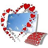 Autocollants en forme de Coeur à disposer selon vos souhaits ou vos compositions artistiques - 244 autocollants en 9 tailles - Décoration Saint-Valentin, mariage, voiture, vitrine - Couleur Rouge