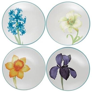 Noritake Colorwave Floral Appetizer Plates, Turquoise Blue, Set of 4