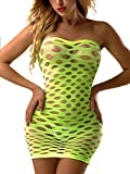 FasiCat Women's Mesh Lingerie Fishnet Babydoll Mini Dress Free Size Bodysuit Green