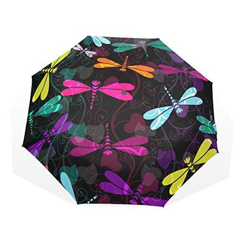 XiangHeFu Paraplu Kleurrijke libellen en doorschijnende vintage krullen Auto Open Sluit 3 vouwen Lichtgewicht Anti-UV