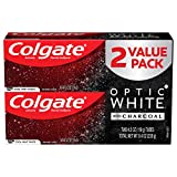Colgate Optic White Charcoal Toothpaste for Whitening Teeth with Fluoride, Cool Mint - 4.2 Ounce (2 Pack)
