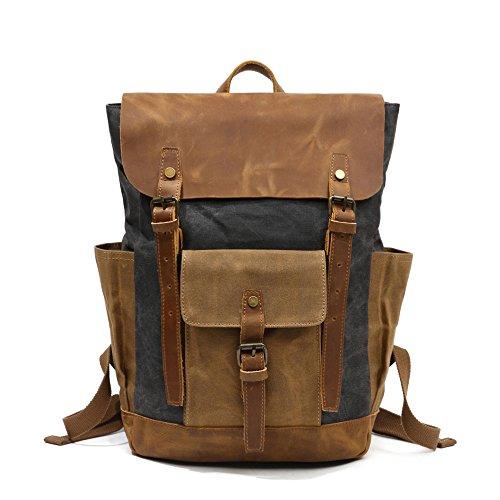 Gurscour Unisex Vintage Canvas Genuine Leather Shoulder Backpack SchoolBag Bookbag Laptop Rucksack Travel Daypack EU8838-grey