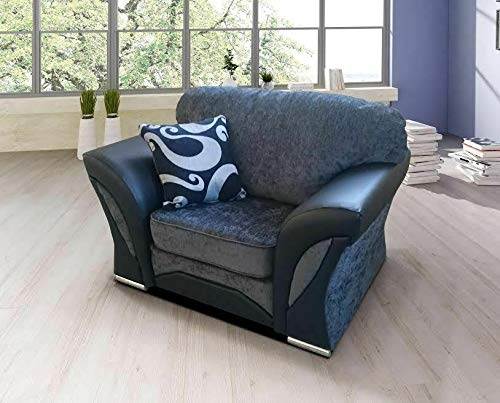 Click for more options-FARROW SHANNON CORNER LARGE SOFA 3 2 1 SEATER SWIVEL CHAIR GREY BLACK BEIGE BROWN (GREY/BLACK, ARMCHAIR)