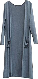 XTX Womens Beach Pure Color Long Sleeve Casual Modal Open Front Loose Cardigan Coat