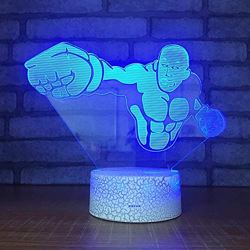neon lights for bedroom Bareheaded boxer Lamp 3d Visual 7 color changes 3D LED lights birthday gift christmas