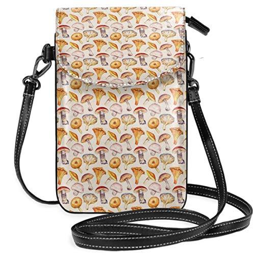 Bolso pequeño de la cartera del teléfono celular del bolso del monedero de las setas rojas con la correa desprendible