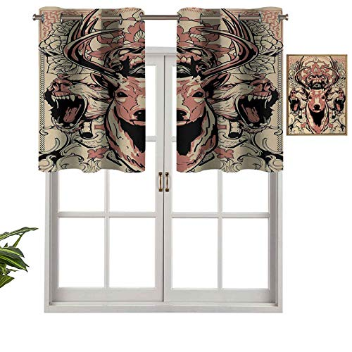 Hiiiman Small Kitchen Window Curtains Valances Modern Artsy Illustration of Skull and Wolves with Floral Design Majestic Antler, Set of 1, 42'x18' for Kitchen Window Bathroom and Cafe