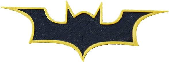 Insanitiez Plastic Batman Logo Batarang Refrigerator Magnet with Outline (Standard Size, Black and Golden)
