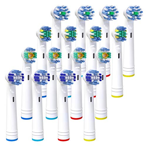 Replacement Toothbrush Heads for Oral b, iTrunk 16 Pack Electric Toothbrush Heads Compatible with Pro 3000 Pro 5000 Pro 7000, Includes 4 Cross, 4 Precision Clean, 4 Floss & 4 3-D Whitening