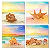 sechars Coastal Wall Art for Bathroom Seascape Canvas Prints Seashell Starfish on Beach Landscape Pictures Paintings for Bedthroom Kitchen Decoration Framed Ready to Hang