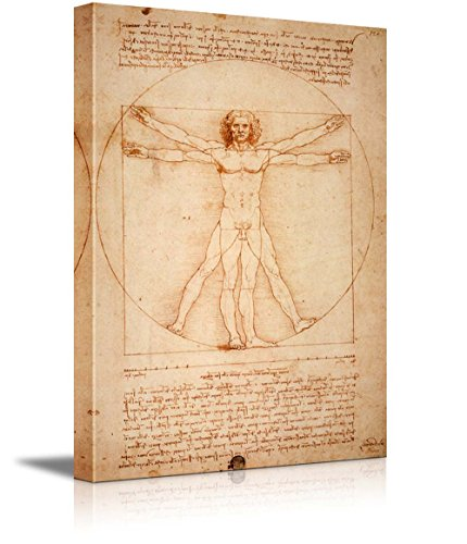 "wall26 Vitruvian Man by Leonardo Da Vinci Giclee Canvas Prints Wrapped Gallery Wall Art | Stretched and Framed Ready to Hang - 24"" x 36"""
