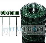 Italfrom Rotolo 25mt Recinzione Rete Metallica Zincata Plastificata Maglia:mm75X50 Diametro Filo:mm2,2 Altezza Rete: 150 cm cod.3785