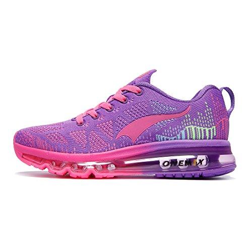 ONEMIX Damen Air Laufschuhe für Damen Straßenlaufschuhe Sportschuhe mit Luftpolster Violett 37 EU 1118ZTH
