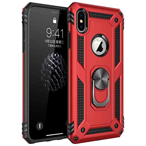 AFARER Hülle Kompatibel Mit iPhone X iPhone XS Militärische Handyhülle Rot