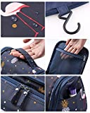 Tuscall Kulturbeutel zum aufhängen Kulturtasche für Damen - Waschbeutel Kosmetiktasche mit Haken für Reisen, Urlaub, Outdoor (Blau Flamingo) - 5