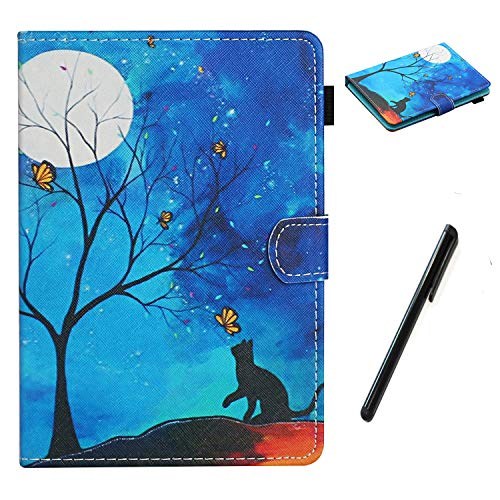 HereMore Apple iPad Mini 5 / Mini 4 / Mini 3 / Mini 2 / Mini 1 Case 7.9 Inch, PU Leather Case Shockproof Stand Cover with Card Slot and Pen Loop Protective Shell with Auto Sleep Wake, Cat