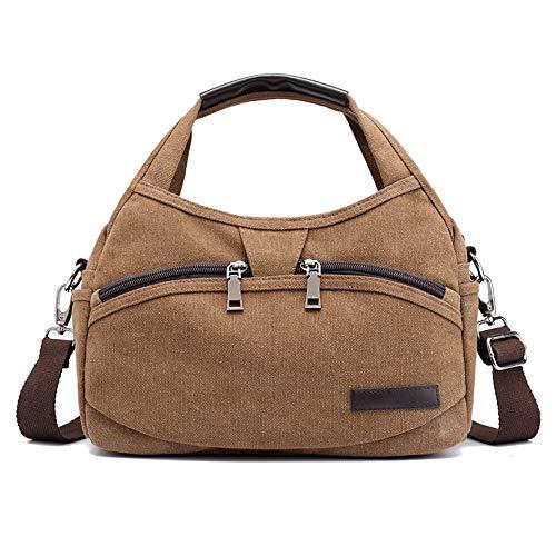 Canvas bag, shoulder bag, handbag, outdoor, large capacity, brown, C0250