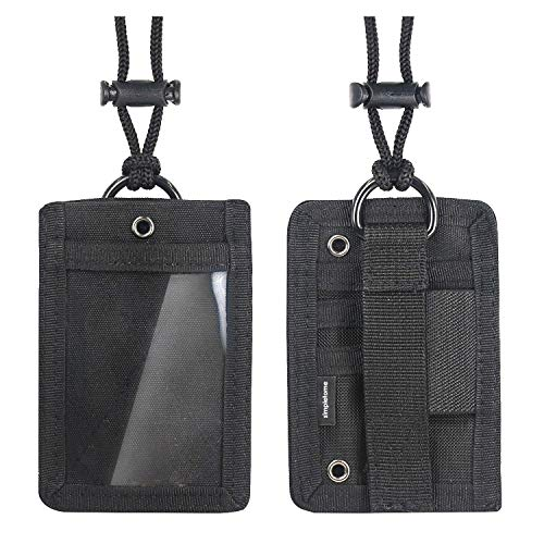 simpletome Taktische ID Kartenhalter Taktische Ausweishalter Abzeichenhalter Identifikation-Kartenhalter mit Umhängeband 1000D Nylon (Schwarz)