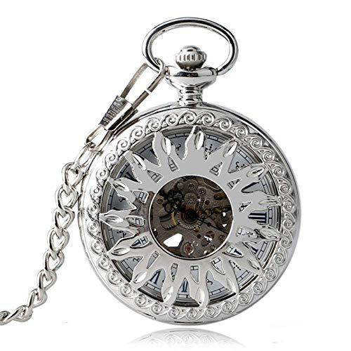 DZNOY Reloj de Bolsillo, Hombres mecánicos de automóviles Mujeres Fresco Hueco Sol Esqueleto Collar Colgante Auto bobinado Cadena Reloj de Bolsillo (Color : Silver)