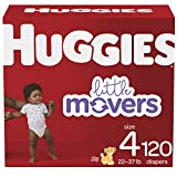 HUGGIES Baby Diapers Little Movers, White, Size 4 , 120 Count