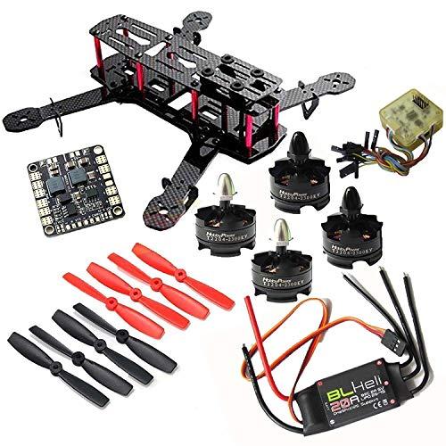 Hobbypower DIY 250mm Quadcopter Mini Racing Drone + HP T2204 2300KV Motor + BLHeli 20A ESC +CC3D Flight Controller +5045 Propeller