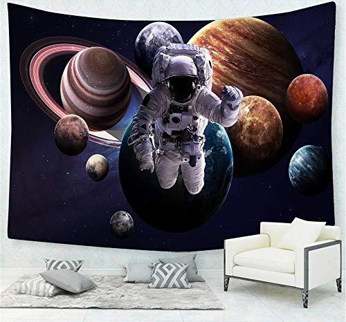 Tapiz De Pared Psicodélico Galaxia Planeta Astronauta Tapiz Colgante De Pared Decoración Artística Impresión De Tela Tapices Murales Trippy Para Hombres Dormitorio Sala De Estar,60' x 52'