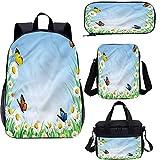 Juego de bolsas escolares para niños de 15 pulgadas, diseño de mariposas, margaritas con mariposas y bolsas 4 en 1