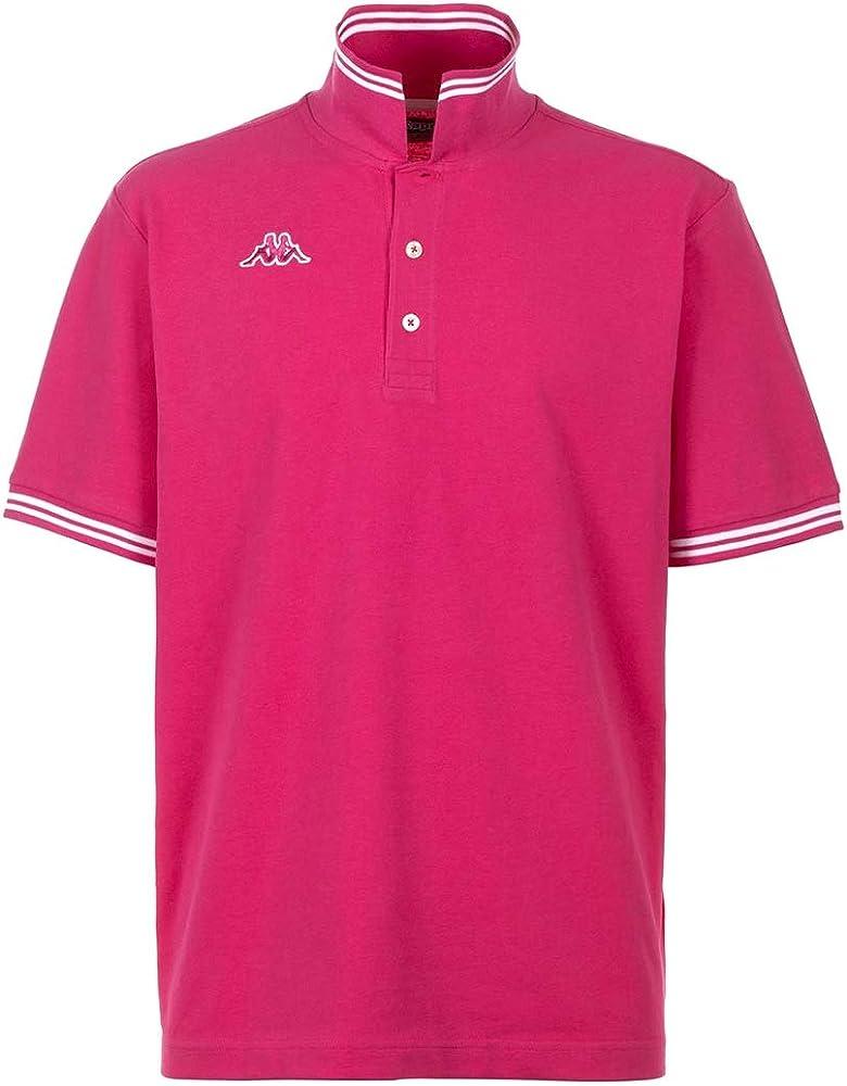 Kappa polo maglietta a maniche corte da uomo in cotone Pink Intense-white