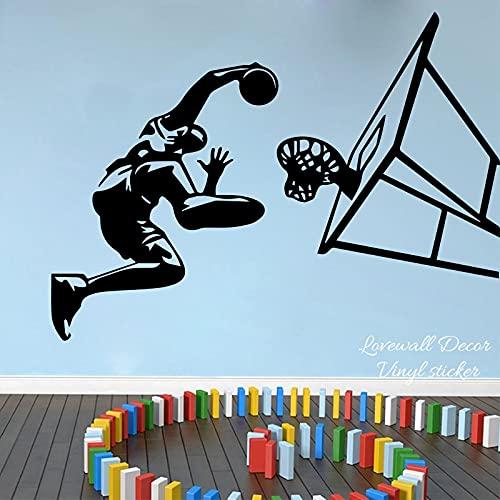 AiEnmaw Pegatina de pared de baloncesto jugador dunk habitación niño 109 cm bola juego deporte equipo pared calcomanía niños habitación vinilo decoración 82 cm x 60 cm