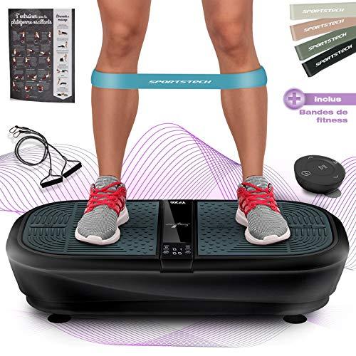 Sportstech Plateforme oscillante et vibrante VP300 Technologie de Vibrations à Bascule 3D, Bluetooth A2DP, Haut-parleurs Musique, INCL. télécommande et Bandes élastiques d'entraînement
