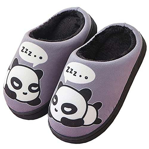 Peluche Pantofole Donne Uomo Caldo Carine Panda Pantofole Inverno Autunno Bambine Interni Antiscivolo Scarpe di Slipper per Ragazzi Ragazze Grigio 33/34 EU = 34/35 CN